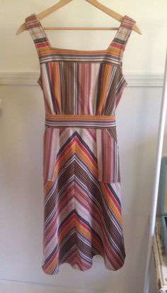 Vintage 60s/70s baja striped dress with pockets