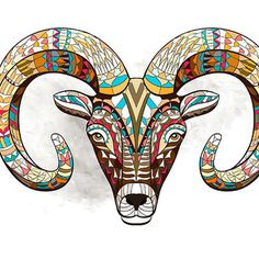 Colorful Goat Head Tattoo Design
