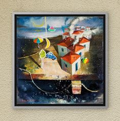 The art of Dreamland. Surrealism oil on canvas. Oil On Canvas, Canvas Wall Art, Night Skies, Childhood Memories, Surrealism, Fairy Tales, Symbols, Paintings, Sky