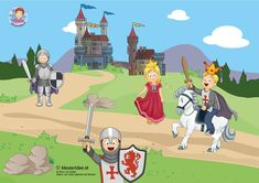 TOUCH this image: Interactieve praatplaat thema ridders, kleuteridee.nl by juf Petra Castle Classroom, Castle Crafts, Castle Project, Dragons, Medieval, Château Fort, Fantasy Pictures, Kids And Parenting, Knight
