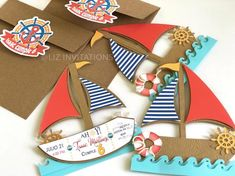 Your place to buy and sell all things handmade Nautical Invitations, Birthday Party Invitations, Birthday Cards, Kids Gift Bags, Sailing Party, Nautical Party, 6th Birthday Parties, Summer Crafts, First Birthdays