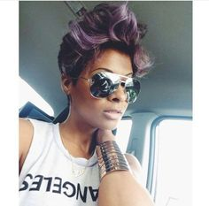 Side Cut Hairstyles, Dope Hairstyles, Spring Hairstyles, Weave Hairstyles, Hairstyle Short, Violet Hair, Purple Hair, Hair Inspo, Hair Inspiration
