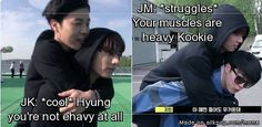 Jimin and Kookie - but remember Kookie is taller than Jimin also.. so there's more of him to carry...
