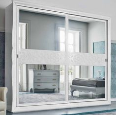 Crystal Wardrobe. The beauty and whiteness of this piece looks amazing in a shabby chic room. The big mirror will allow you to have the illusion of a very big room.