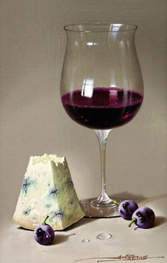 Javier Mulio (Spanish b. Known for realistic, exquisite reproductions of still life images, it is no coincidence t. Painting Still Life, Still Life Art, Still Life Images, Wine Art, Realistic Paintings, Oil Paintings, Wine Cheese, Cheese Food, In Vino Veritas