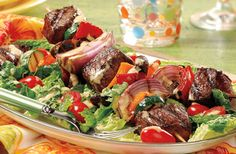 Grilled Citrus Spiced Steak Kabob Salad