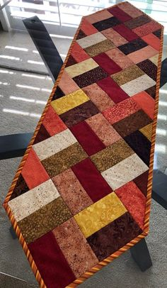 Fall Table Runner, Quilted Table Runner, Narrow Table Runner, 11 x 39 - Fabric Crafts DIY Patchwork Table Runner, Table Runner And Placemats, Table Runner Pattern, Quilted Table Runners, Fall Table Runner, Place Mats Quilted, Quilted Table Toppers, Quilt Block Patterns, Small Quilts