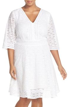 Eliza J Three-Quarter Sleeve Lace Fit & Flare Dress (Plus Size)