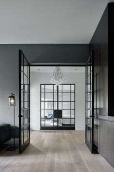 Wood floor colour and glass doors with black frames