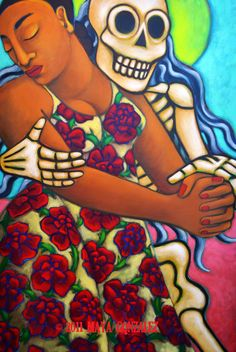 I am loving this artist. Check her out! Woman Dancing with Death Print by mayagonzalez on Etsy, $18.00