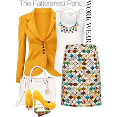 """Patterned pencil skirt"" by jfkaulback on Polyvore"