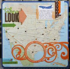cool way to document where you've traveled. #scrapbooking #layout