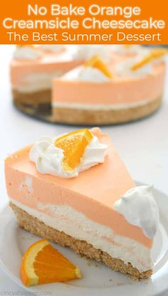 This No Bake Orange Creamsicle Cheesecake is the BEST Summer dessert! If you are a fan of Creamsicles, you are going to want to make this No Bake Orange Creamsicle Cheesecake this summer. You will find a delicious Nilla Cookie… Continue Reading → Best Summer Desserts, Summer Dessert Recipes, Recipes Dinner, Easy Desserts To Make, Köstliche Desserts, Delicious Desserts, Yummy Food, Fruit Deserts Recipes, Chocolate Desserts