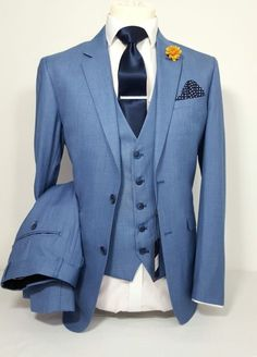MENS BLUE JAY 3 PIECE SUIT WEDDING PARTY PROM TAILORED SMART