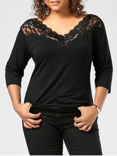 GET $50 NOW | Join RoseGal: Get YOUR $50 NOW!https://www.rosegal.com/plus-size-t-shirts/plus-slze-lace-panel-v-1206769.html?seid=6384889rg1206769