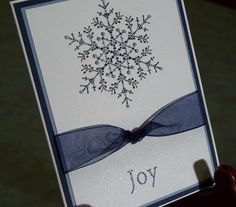 Embossed Handmade Christmas Card - Stampin Up THE SNOWFLAKE SPOT
