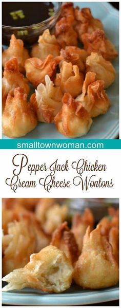 These Pepper Jack Chicken Cream Cheese Wontons are the perfect little crispy bite for a party or game day. Filled with cream cheese, chicken, Pepper Jack and a perfect blend of spices. Finger Food Appetizers, Yummy Appetizers, Appetizers For Party, Party Snacks, Finger Foods For Party, Party Food Ideas, Wonton Appetizers, Holiday Party Appetizers, Chicken Appetizers
