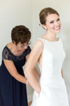 Bateau Neckline White Satin Wedding Dress with Low Back