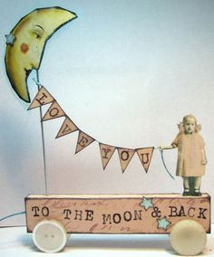 Bunting Banner Moon Fairy 3d Paper art collage mixed media. $39.99, via Etsy.