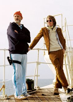 Bill Murray and Wes Anderson on-set of The Life Aquatic with Steve Zissou