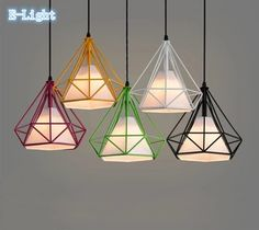 Colorful Birdcage Pendant Lamp Scandinavian Modern Minimalist Art Pyramid Iron Pendant Light Diamond Creative Restaurant Lights