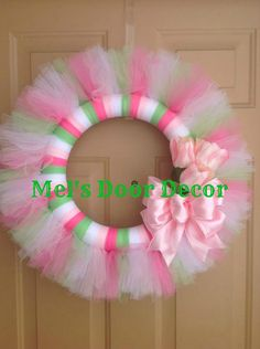 Spring Tulle Wreath by MelsDoorDecor on Etsy, $30.00