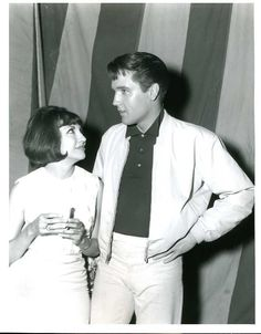 """Elvis on the set of his movie """"Girl Happy"""" summer 1964 with former co-star from """"Fun in Acapulco,"""" Elsa Cadenas."""
