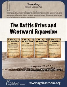 Lesson plan teaching the historical context of cattle drives and how population growth, barbed wire, refrigeration, and railroads impacted life on the frontier.