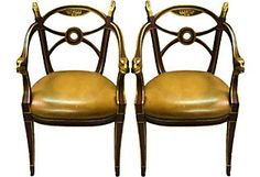 Regency-Style Chairs, Pair. Mahogany frame upholstered in leather w/brass