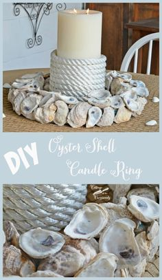 It's so easy to make your own oyster shell candle ring! The directions are here and it will be!| Cottage at the Crossroads