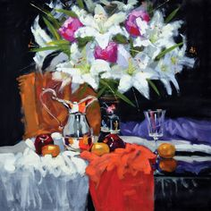 Jack Morrocco — Lilies, Peonies and Silver Water Jug Black Background Painting, Flowers Black Background, Drawing Wallpaper, Flower Wallpaper, Flower Shop Interiors, Blue Cherry, Silver Water, Flower Stands, Wall Patterns