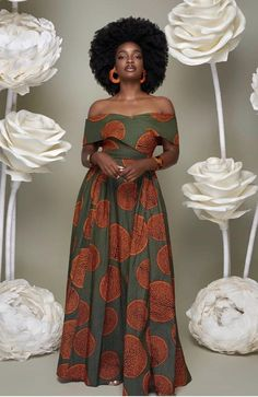 African Clothing/ Ankara off shoulder Dress/ Ankara Print/ African Print - African fashion African Maxi Dresses, African Dresses For Women, Ankara Dress, African Attire, African Wear, African Inspired Fashion, African Print Fashion, Skinny Jeans Kombinieren, Nigerian Dress Styles