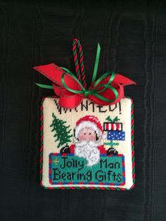 Wanted Jolly Man Bearing Gifts Ornament ~ Canvas by Patty Mann