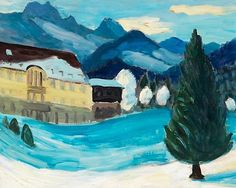 View Schloss Elmau im Winter By Gabriele Münter; Access more artwork lots and estimated & realized auction prices on MutualArt. Franz Marc, Wassily Kandinsky, Cavalier Bleu, George Grosz, August Macke, Concrete Art, Expressive Art, Impressionism Art, Magazine Art