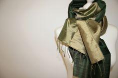 STOLA * Reine Seide* Olive-Grün & goldiges Beige  von GOSTYLE-outlet auf DaWanda.com