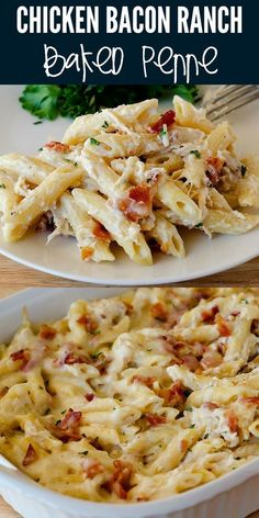Chicken Bacon Ranch Baked Penne is filled with all things comforting. Penne past. - Chicken Recipes Chicken Bacon Ranch Baked Penne is filled with all things comforting. Penne past. Crock Pot Recipes, Cooking Recipes, Healthy Recipes, Bacon Recipes For Dinner, Pasta Recipes Crockpot, Meat Recipes, Good Easy Dinner Recipes, Easy Bacon Recipes, Healthy Pastas
