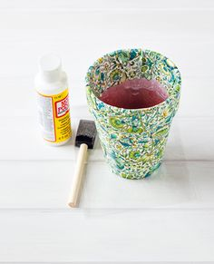 Brighten Up: Liberty Print Flower Pots - Seal with Mod Podge