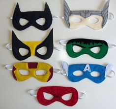 Superhero mask, felt, elastic, mask charade, halloween, party, birthday, celebration super hero kids toys play