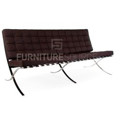 Barcelona Style 3 Seat Pavillion Sofa Premium Genuine Full Italian Leather - Brown
