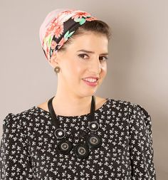Pink modest Apron tichel headcover with floral by TAMARLANDAU, $30.00 #Apostolicfashion #modestfashion #tzniutfashion #kosherfashion #hijab #snood #aprontichel #headwarp #headcover #tichel