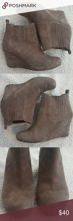 DV Pocie Taupe Suede Wedge Booties Size 8 Gently used and in good condition with some exterior scuffs and marks but all have lots of life in them. See pictures  *Pet and smoke-free home! I often adjust my price during Posh parties and promos, keep an eye out!! Offers welcomed! DV by Dolce Vita Shoes Ankle Boots & Booties