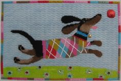 Flying Puppy Needlepoint Pillow by Kirk & Bradley
