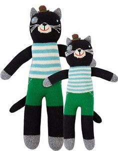 Lucky the Cat by Bla Bla - these are so expensive but they are hand knit and EXTREMELY high quality. We have two other styles, one for each kid. They wash beautifully and stand up to little boys impressively.