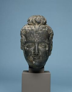 Statue Head, Ancient Gandhara, modern Pakistan/Afghanistan, 2nd-3rd Century AD, Gray Schist, H. 34 cm, Penn Museum Object