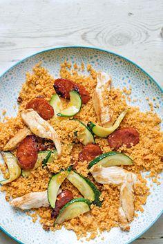 Chicken + chorizo + courgette + cous cous = dinner in 4 ingredients. Recipe in issue 26