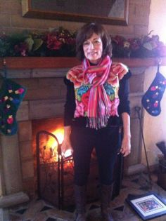 Talented writer and shamanic healer, Pamela Hale looks b-e-a-u-t-i-f-u-l in this photo. The warmth of the setting with the warmth of the scarf is magical. Thank you Pam so much for being involved with the Sisterhood of the Sacred Scarves. www.thespiritedwoman.com/prayer_scarf