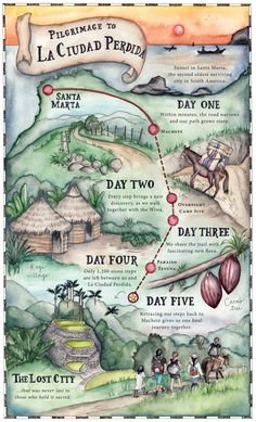 Hand drawn map of the Lost City trek in Colombia. Travel Brochure Design, Cities In South America, Colombia Map, California Map, Kawaii Doodles, Equador, Bullet Journal Ideas Pages, Lost City, Map Design