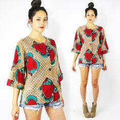 vtg 70s 80s boho hippie brown ETHNIC BATIK FISH print BELL SLV TUNIC shirt top S $38.00