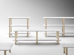 Sylvain Willenz's Alaka Shelves in marble and oak