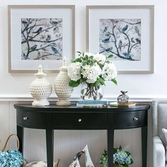 Weve created an elegant entryway which features our Morning Song framed prints. Hamptons Style Decor, The Hamptons, Hallway Decorating, Entryway Decor, Modern Entryway, Elegant Homes, White Decor, Coastal Decor, Living Room Decor